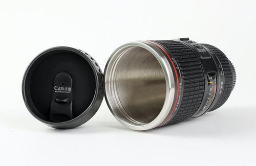 vaso creativo forma lente camara replica canon geek design
