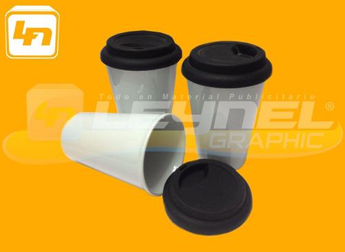 vaso de cafe conico para sublimar de sublimacion c/tapa negr