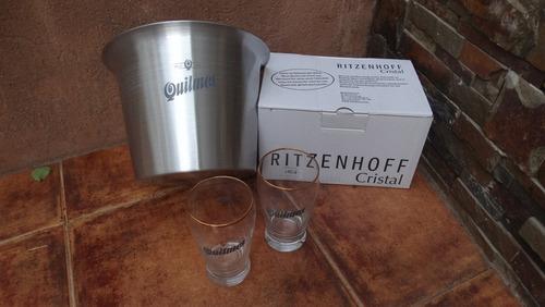 vaso de cerveza quilmes con borde dorado importados 250 cc