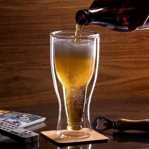 vaso de cristal forma de botella de cerveza
