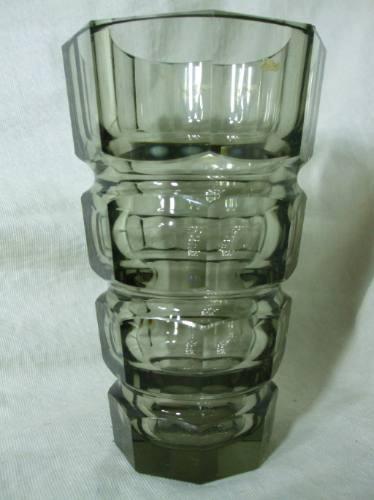 vaso de cristal fume bavaria  art deco