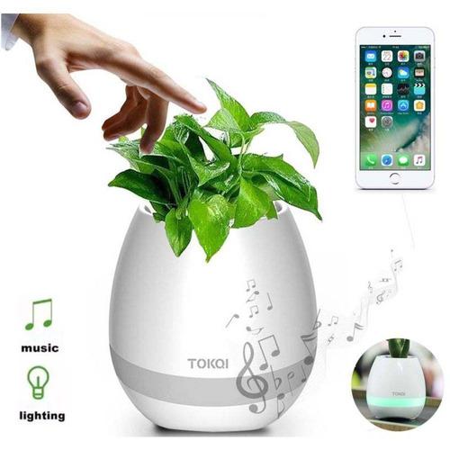 vaso de planta musical com sensor toque caixa som bluetooth