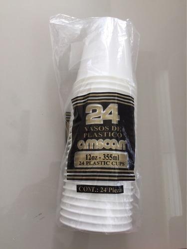 vaso de plástico blanco de 12 oz