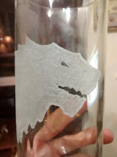 vaso de vidrio grande tallado a mano