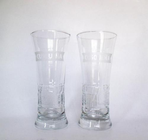 vaso de vidrio kero cusqueña labrado de coleccion 370ml isc