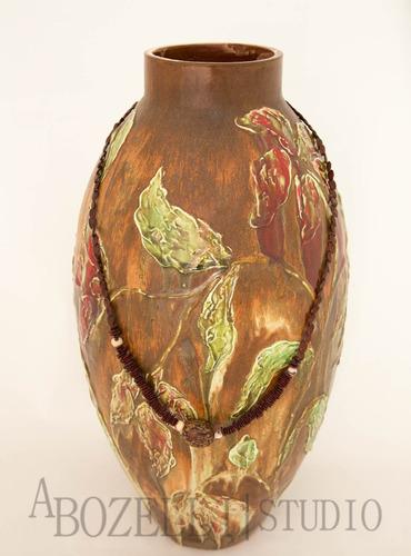 vaso decorativo castanho c/ folhas e flores