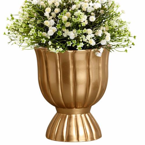 vaso decorativo festa dourado em cerâmica para arranjo