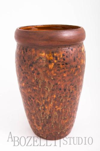 vaso decorativo marrom c/efeitos em caramelo,amarelo e preto