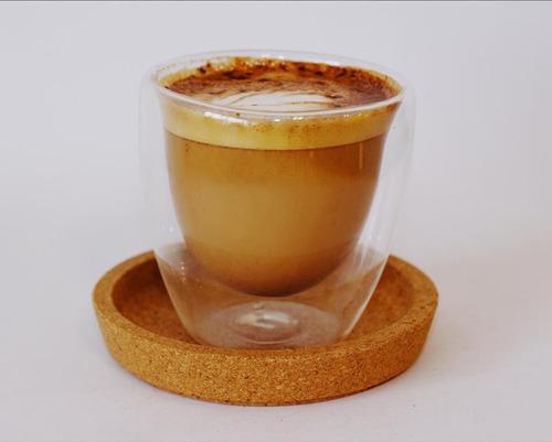 vaso doble vidrio x 2 unidades café bebidas frias calientes