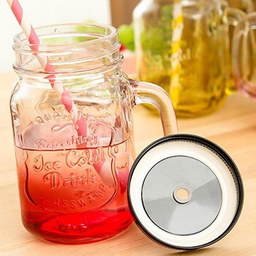 vaso en vidrio mug pitillo tapa metálica jarra vintage mason