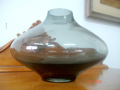 vaso floreiro bojudo em vidro artistico fumê bela decoração