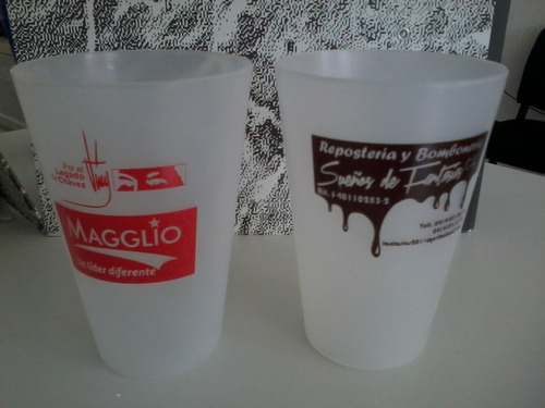 vaso glaseado para eventos material pop
