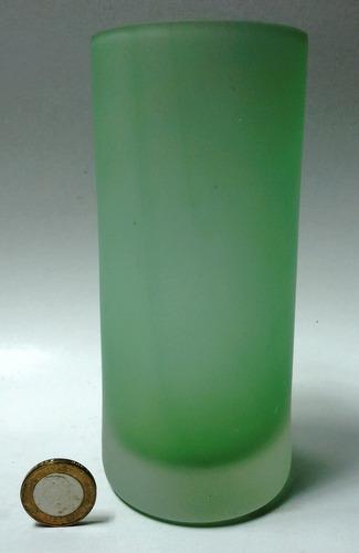 vaso grande cristal murano opaco verde base gruesa