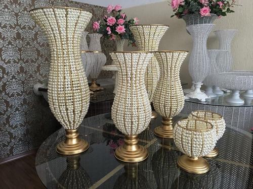 vaso jarro e bandejas pedraria perola 9 peças promoção