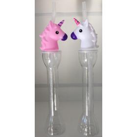 Vaso Largo Botella Unicornio Con Tapa Y Sorbito