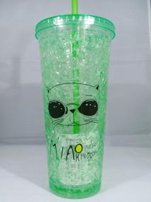 Vaso Para Congelador Gatos Color Verde Con Gel Para Enfriar