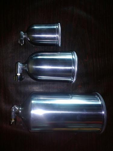 vaso para pistola de gravedad con codo aluminio 1 litro