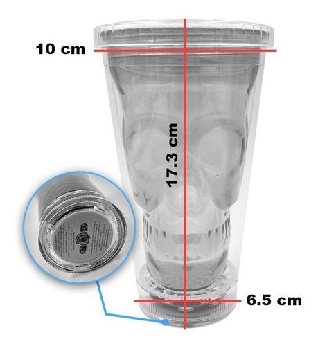 vaso pitillo acrílico calavera con luz led + pitillo rf164