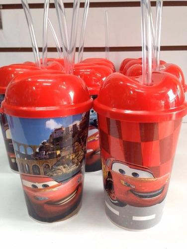 vaso pitillo cars sorpresas decoración fiestas piñatas niños