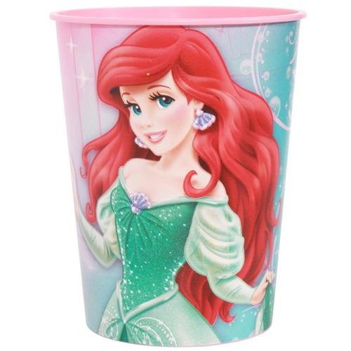 vaso plástico importado cotillon princesa ariel - sirenita