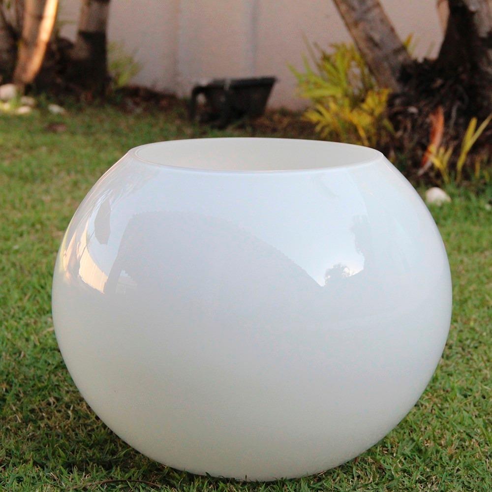 Vaso redondo bola grande de vidro branco home bu114 for Vaso grande