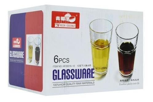 vaso set x6 uds vidrio base octogonal 14.5x8cm