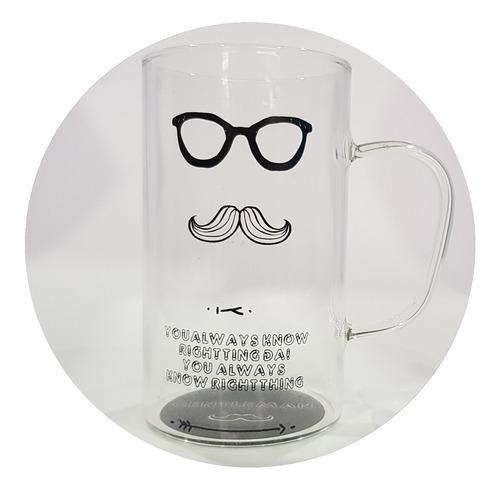 vaso taza pocillo caballero vidrio tapa cuchara gafas lentes