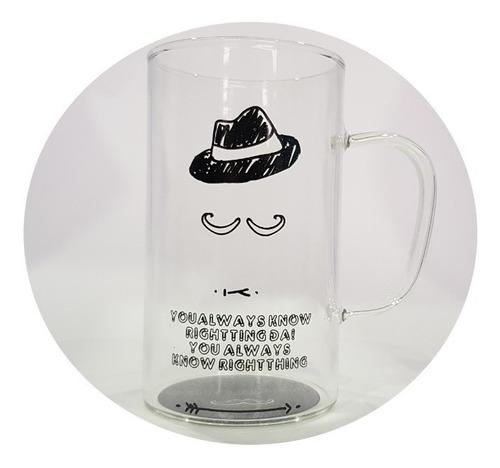 vaso taza pocillo caballero vidrio tapa y cuchara sombrero