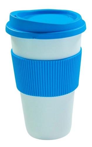 vaso térmico tipo starbucks mug + tapa + faja 300 ml colores