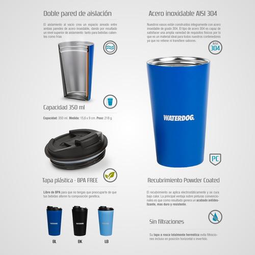 vaso termico waterdog acero inox jarro tapa 350ml frio calor