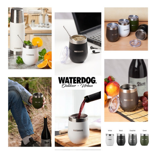 vaso térmico waterdog copon mate 350cc acero inox con tapa