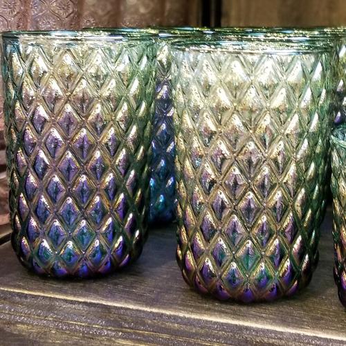 vaso vidrio largo rombos tornasolado set x 6 colores degradé