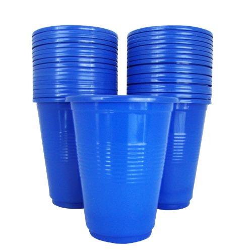 vasos azules  descartables 200 ml 50 unidades