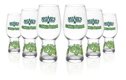 vasos canilla verde x 6 unidades cerveza artesanal antares