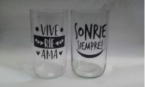 Vasos Vidrio Decorados Vinilos Decorativos Nuevo En