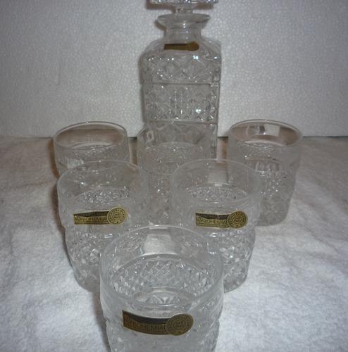 vasos con hielera de cristal bohemia