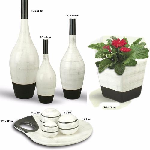 vasos de cerâmica mais enfeite centro de mesa trio branco
