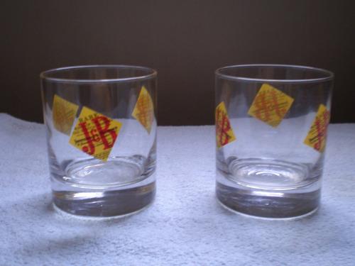 vasos de whisky j & b 2 impecables bajos base gruesa 9x8 cm