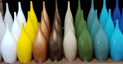 vasos decorativos tipo garrafa 48 cerâmica cobre 3 pcs