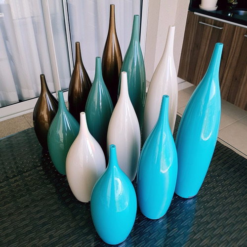 vasos decorativos tipo garrafa 48 cerâmica off white 3 pcs