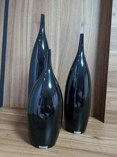 vasos decorativos tipo garrafa 48 cerâmica preto 3 pcs