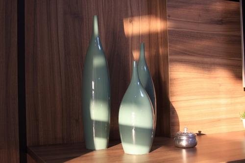 vasos decorativos tipo garrafa 48 cerâmica verde 3 pcs