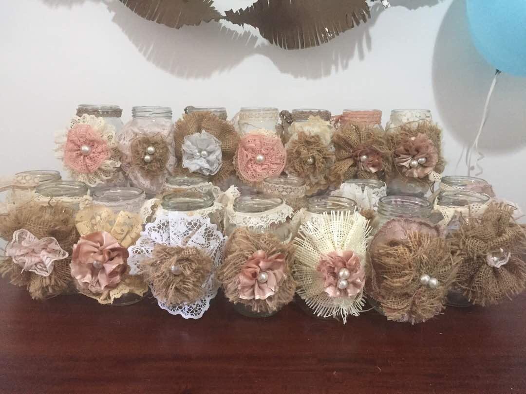 vasos frascos d vidrio decorados vintage decoracion bs