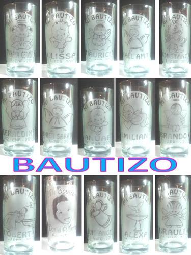 vasos grabados a sandblast para  bautizo
