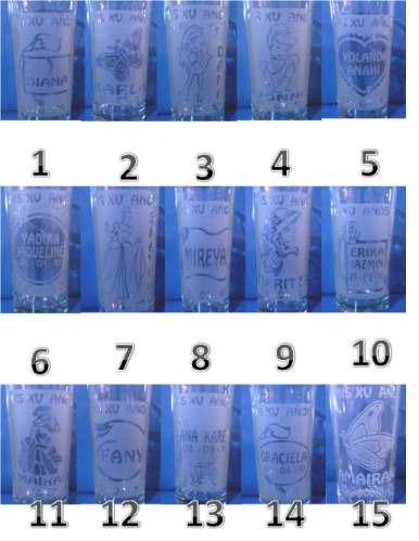 vasos grabados para bautizos, xv años bodas personalizadas