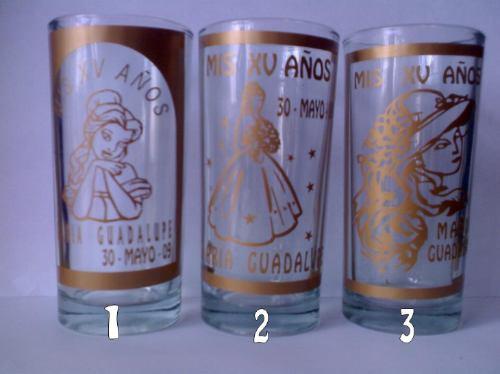 vasos grabados para bautizos, xv años bodas personalizados