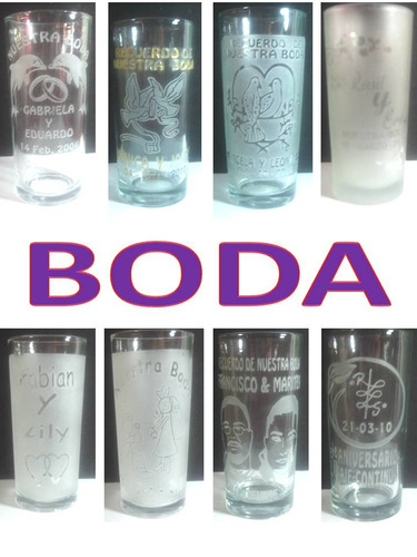 vasos  grabados para boda.(tecnica sandblast)
