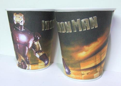 vasos ironman, plasticos descartables!!!