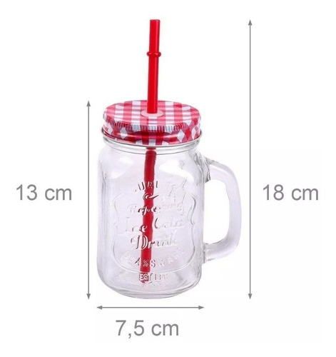 vasos mason jarra - vaso jarrita vidrio asa tapa caña x 12