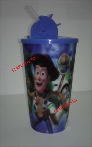 vasos minions, toy story, spiderman, mickey, con tapa y p.